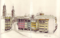 Marktplatz (Flaf) Tags: schnee snow colour water pencil stuttgart drawing 1950s schloss markthalle altes stiftskirche stadtkirche spielwaren artbookklub haufler