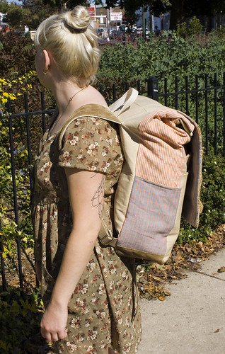 joanna with her backpack (side)