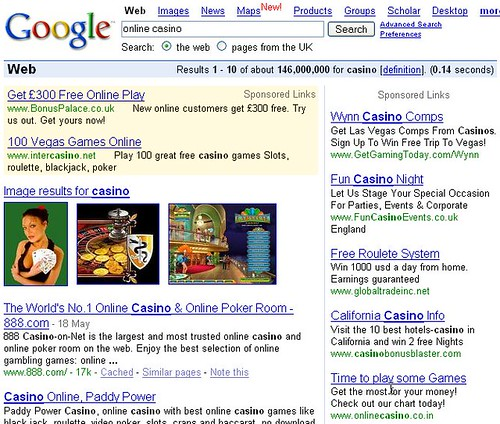 Screenshot of Google search results page for