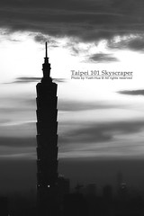Taipei 101 Skyscraper * B & W (*Yueh-Hua 2013) Tags: camera sunset bw building tower architecture night skyscraper canon buildings eos blackwhite fine taiwan 101  taipei taipei101 dslr   tamron      30d  101  a16     canoneos30d verticalphotograph tamronspaf1750mmf28xrdiii  taipei101skyscraper taipei101internationalfinancialcenter 2007june tigerpeak