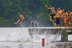 Splashing (Wonder Sighter) Tags: fun jumping raft splashing holidaylake