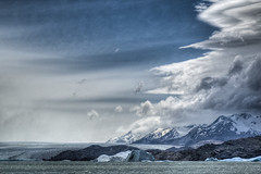 Storm clouds over Upsala Glacier (David Thyberg) Tags: park winter sky cloud patagonia lake snow storm cold ice 2004 water argentina topv111 clouds lago nationalpark los nikond70 glacier national uppsala andes getty lagoargentino hdr upsala argentino glaciares losglaciares losglaciaresnationalpark specland lpclimate