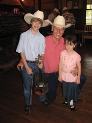 J. and K. with Charlie Stenholm at the Texas Cowboy Reunion fiddle contest