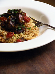 Braised beef shin with porcini risotto