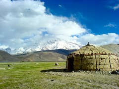 Kyrgyz Yurt At Karakul Lake (spearhawk) Tags: china road lake highway silk yurt xinjiang karakoram kkh kyrgyz karakul ata muztagh
