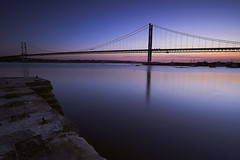 Forth Road Bridge (philzero) Tags: road bridge sunset river scotland edinburgh long exposure suspension north photoblog forth firth queensferry sigma1020mm