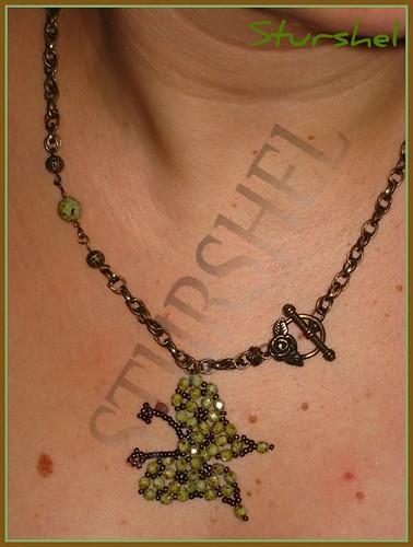 Collar Mariposa Verde Mármol