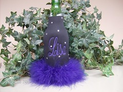 Black with purple (Order at: thekooziefloozie@aol.com) Tags: wedding orange cats beer bar hellokitty feathers lsu zebra fleurdelis custom sodas rhinestones personalized initials hotpink receptions koozies sanario
