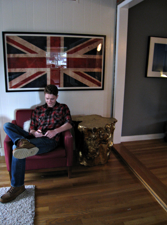 game room+decorating process+union jack flag print+gold stumps+vintage modern chair+timmy