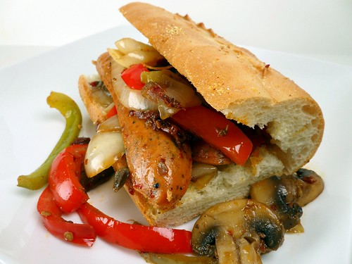 ... Kitchen: Chicken Sausage Sandwich with Mushrooms, Peppers, and Onions