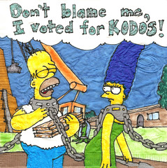 post election bliss!  2010 election is behind us! (kmkirbynapkins) Tags: art halloween kids fun election simpsons daily napkins homer marge coloured lunches kodos treehouseofhorror 2010election