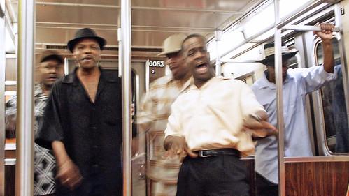 singers on train