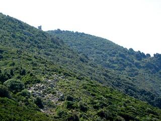 La tour d'Urchinu en montant depuis la baie de Topiti