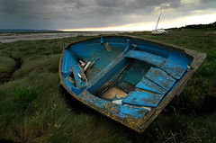 Blue boat at Heswall shore (jimmedia) Tags: blue boat shore heswall peopleschoice abigfave photology