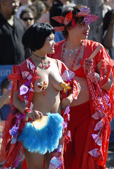 Coney Island Mermaid Parade (Steven Bornholtz) Tags: show park county new york city nyc red people usa color beach fashion festival brooklyn choir america fun outdoors island amusement us photo costume nikon women dj cosplay united tide contest picture luna parade event bands kings card borough steven states d200 activity mermaid coney gotham midway coloured cyclone tabernacle 2007 merman astroland brightly gothim bornholtz djmidway tabarnacle
