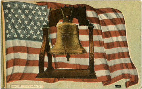 Postcard: Liberty Bell & Old Glory