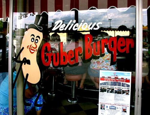 Window sign at the Wheel Inn Drive-Inn in Sedalia MO home of the Goober Burger