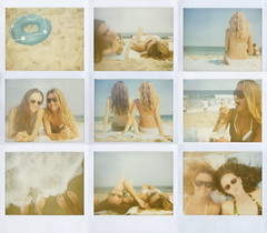 Summer Girls (jena ardell) Tags: ocean vacation feet beach sunglasses polaroid sand toes lindsay polaroidspectra spectra atlanticocean bestfriends bikinis jerseygirls beachbunnies bluetube polaroidcollage jenaardell