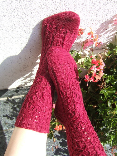 Twisted Flower Socks from Sockapalooza swap