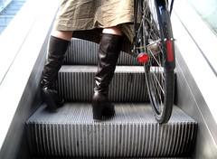 Bikescalator * (Mikael Colville-Andersen) Tags: girl fashion bike bicycle copenhagen subway boots metro escalator style gear skirt cycle chic   metrostation bikeporn streetfashion   fasanvej   streetstyle girlsonbikes  bikeadvocacy copenhagenmetro cyclechic speed copenhagencyclechic criticalmassissolastcentury fixedgearissoooolastcentury chic advocacy velopassioncc