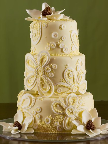 Lace and Magnolia Wedding Cake