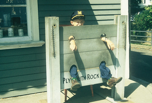 Leon in stocks at Plymouth, Aug 1957