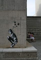 XOOOOX's crouching girl (Zozu9) Tags: berlin canon germany deutschland graffiti gallery bunker xoooox 400d womancrouching