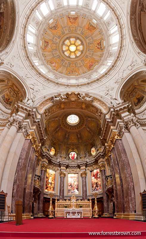 Vertical panorama for the main dome of the Berliner Dom. Berlin Cathedral, Church, Germany, Berlin