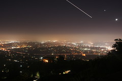 The Sky Tonight (peasap) Tags: california ca city longexposure sky moon cars night canon eos xt lights view sandiego box aircraft elcajon el ufo planets mountainview saturn roads tonight extraterrestrial freeways cajon coronadobridge thebox airoplane unidentifiedflyingobject mthelix eastcounty mountainviewatnight
