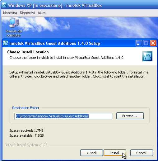VirtualBox - Guest Additions - Windows XP: percorso d'installazione nel sistema guest
