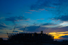 Kuala Terengganu Stadium (SUKMA XII 2008, Terengganu) (Fadzly @ Shutterhack) Tags: trip travel light sunset shadow vacation sky holiday hot sports nature silhouette architecture night d50 dark skyscape landscape asian construction nikon asia published stadium horizon natureza low natur beijing natuur natura noflash malaysia tropical vista tropic olympic olympics scape paysage  2008 xii 1855mmf3556g asean  terengganu equator humid landschap publish mys sukan   maleisi charakter  sukma  olimpik nikonstunninggallery kalikasan nikonafszoomnikkored1855mmf3556gdx shutterhack sultanmizanstadium tsunamiinthesky