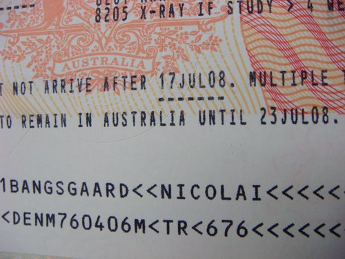 A wonderful sticker! Australian visa, 12 months, multiple enry.