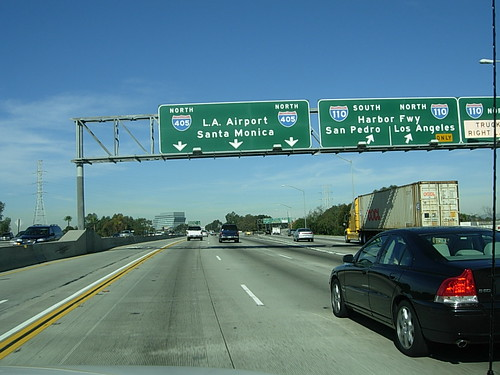 Driving on the Northbound Freeway 405 in Carson, CA - a