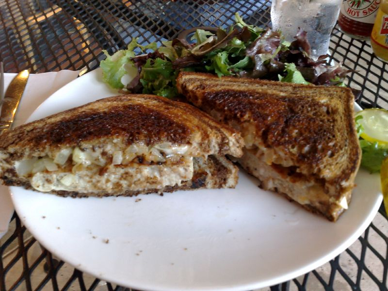 Patty Melt: Turkey burger, grilled onions and swiss on rye