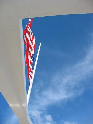 flag at half mast, USS Arizona memorial