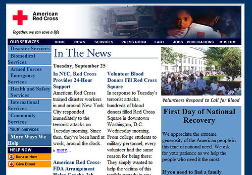Red Cross home page, 9/13/01