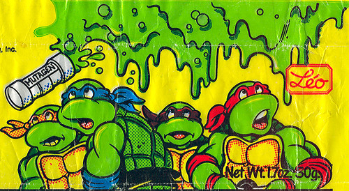 Alma-Leo U.S.A - Teenage Mutant Ninja Turtles 'MUTAGEN' Fruit Flavored Candy Chew Bar ;wrapper ii { Turtles Isolated }  (( 1990 ))