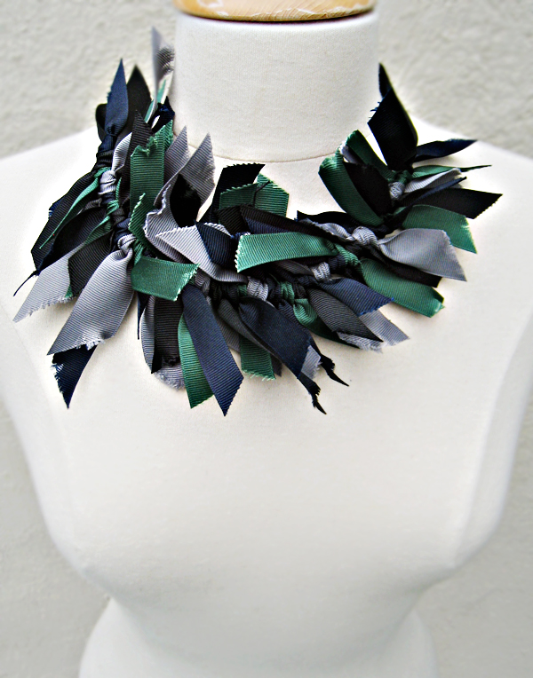 grosgrain ribbon necklace DIY -worn at the collar