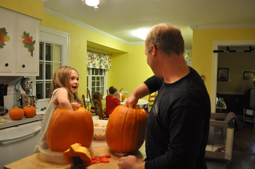 cleaning out pumpkins
