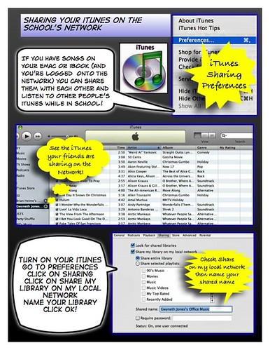 sharing itunes on your school network at a glance ... comic format for printing