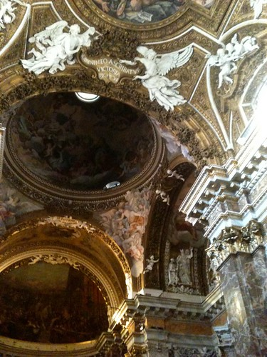 Ceiling at baroque church of Santa Maria della Vittoria, Rome