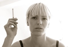 smoking star (b&w only) Tags: portrait face canon hand cigarette smoking blonde 30d 24105l