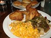 Kari's fried chicken with macaroni & cheese and southern greens