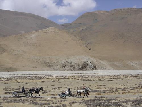 Viajeros a caballo rutas aridas tibetana