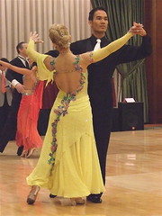 Flower-bedecked Yellow Gown (catface3) Tags: flowers yellow dance glamour soft dancing embroidery chiffon competition gloves ballroom blonde flowing gown elegant sheer whitetie goldshoes
