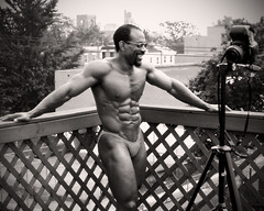 1998 Rooftop South Philly (kchbrown) Tags: trees portrait bw man male film rooftop philadelphia smile pose muscle laugh 1998 flex ever abs lattice 175 physique southphilly fitzwaterstreet middleweight chesy nosteroids