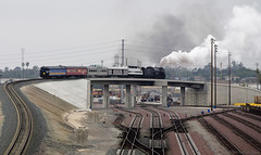 Shoving across the Fly-over (K-Szok-Photography) Tags: canon steam steamengine sanbernardino steamlocomotive atsf 3751 kenszok