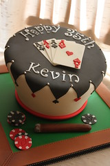 Wonky poker theme cake (Andrea's SweetCakes) Tags: club cards ace cigar chips diamond poker birthdaycake spade