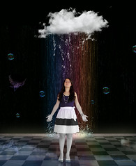 Color me (.Micheledias.) Tags: iris cloud white water rain cores de rainbow colours surreal bubbles manipulations dreams imagination nuvem arco imagem manipulao bolhas splah explored colorme micheledias