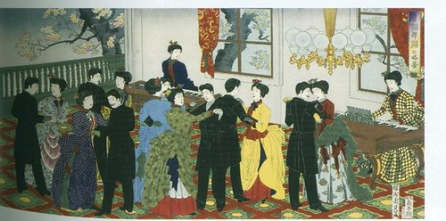 """A Glimpse of Dignitaries Dancing"" Kiken butō no ryakuke: Signed: ""Yōshū Chikanobu hitsu"" with red toshidama seal Published by Morimoto Junzaburō, undated (datable to 08 February 1888) Courtesy Aoki Endowment Collection, Scripps College, SC2004.1.23."